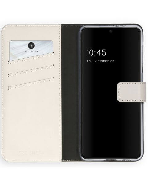 Echt Lederen Booktype Samsung Galaxy S21 - Lichtgrijs - Mystic Stone