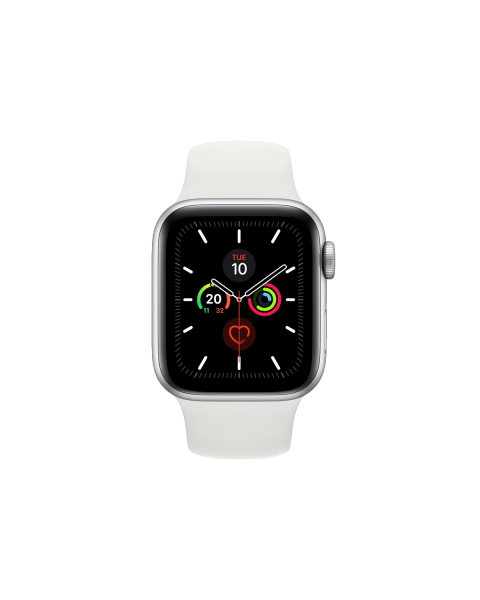 Refurbished Apple Watch Series 5 44mm GPS Aluminium Case Zilver met wit sportbandje