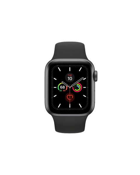 Refurbished Apple Watch Series 5 44mm GPS Aluminium Case Spacegrijs met zwart sportbandje