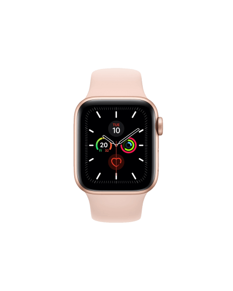 Refurbished Apple Watch Series 5 44mm GPS Aluminium Case Goud met roze sportbandje
