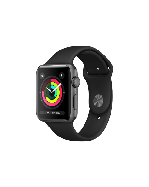 Refurbished Apple Watch Series 2 38mm Aluminum Case Spacegrijs met zwart sportbandje