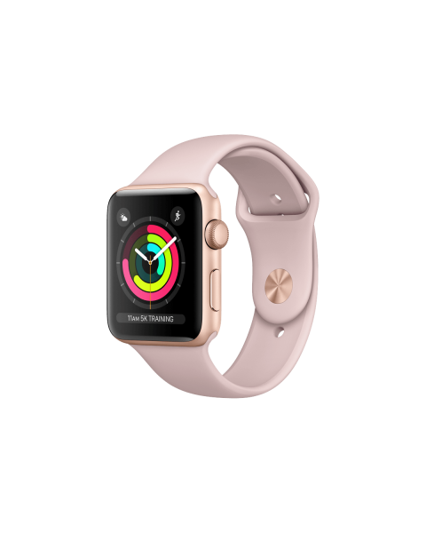 Refurbished Apple Watch Series 3 42mm GPS Aluminum Case Goud met roze sportbandje