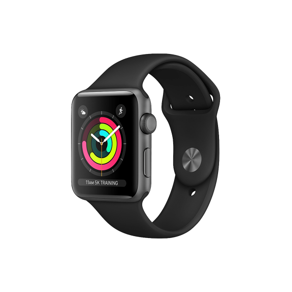 Refurbished Apple Watch Series 3 38mm GPS Aluminum Case Spacegrijs met zwart sportbandje