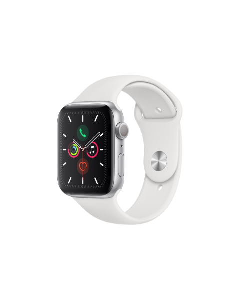 Refurbished Apple Watch Series 5 40mm GPS Aluminum Case Zilver met wit sportbandje